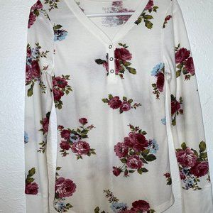 White Floral Long-sleeved Shirt